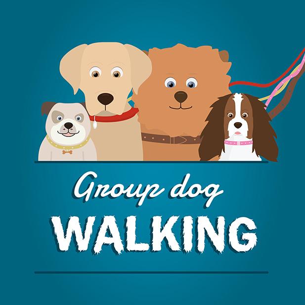 Group dog walking service icon